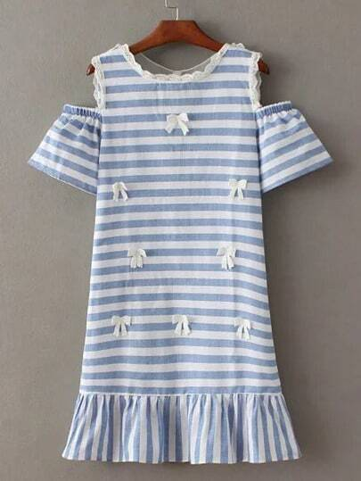 Blue And White Cold Shoulder Stripe Bow Dress