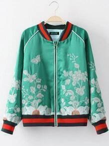 Green Crew Neck Embroidery Zipper Jacket