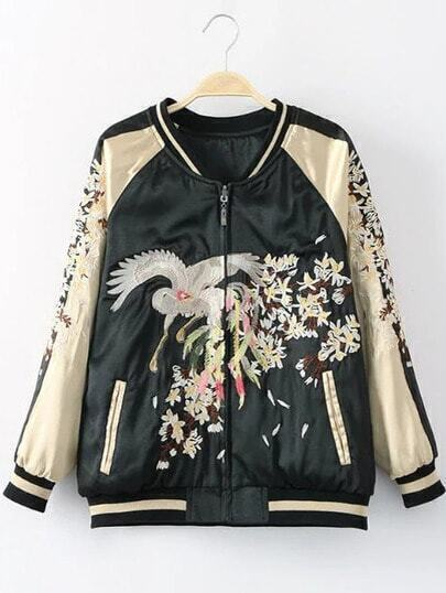 Black Rib-Knit Cuff Crane Embroidery Pocket Jacket