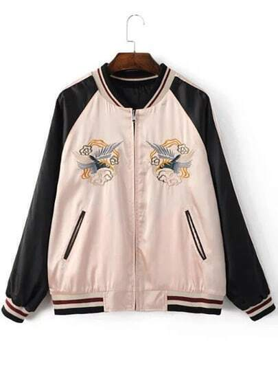 Apricot Crew Neck Bird Embroidery Jacket