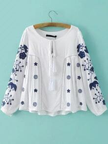 White Tie Neck Embroidery Hollow Blouse