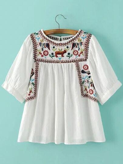 Blusa animal bordado con abertura - blanco