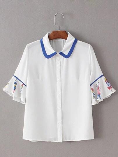 White Lapel Ruffle Sleeve Printed Blouse