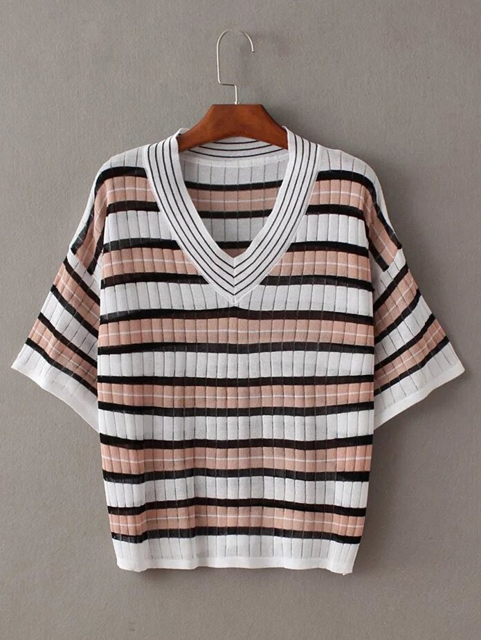 Pink And White V Neck Stripe T Shirt Shein Sheinside