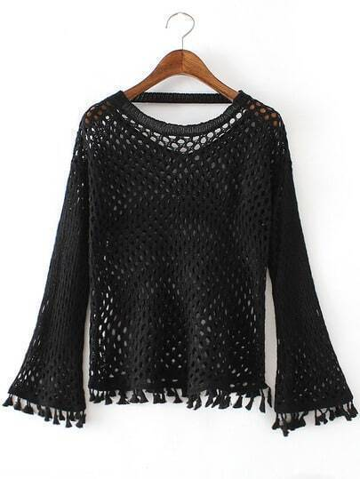 Jersey escote redondo hueco borlas - negro