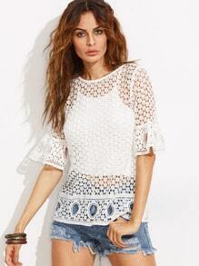 White Hollow Ruffle Half Sleeve Blouse