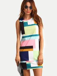 Color Block Sleeveless Zipper Back Dress
