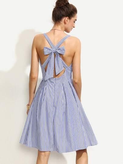 Blue Striped Sleeveless Bow Criss Cross Back Dress