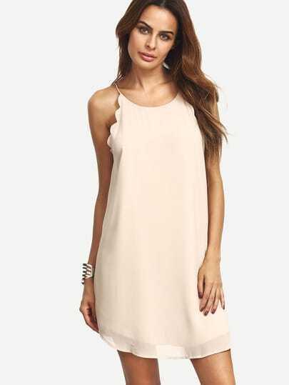 Nude Spaghetti Strap Sleeveless Chiffon Shift Dress