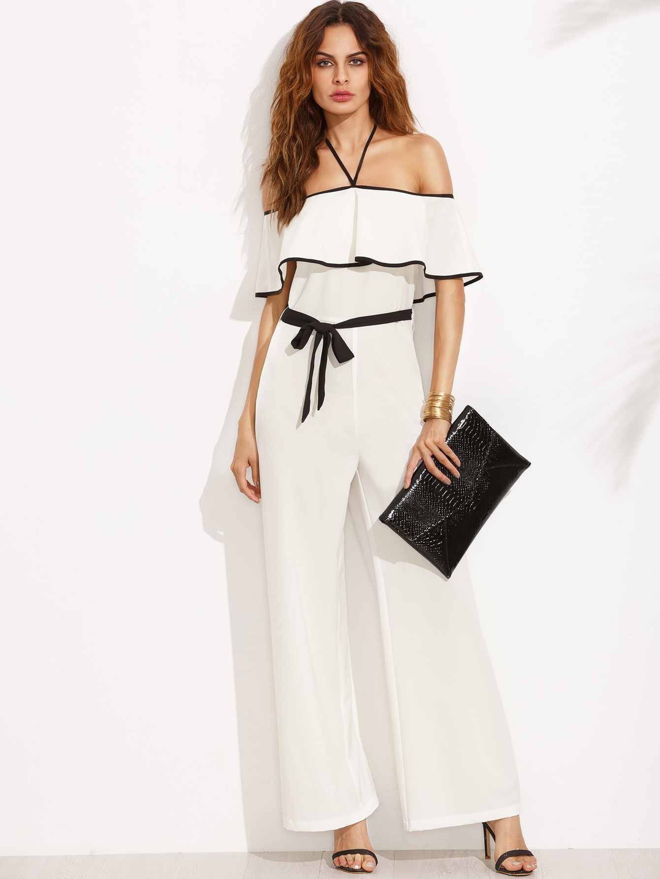 Black and White Halter Ruffle Tie Waist JumpsuitBlack and White Halter Ruffle Tie Waist Jumpsuit<br><br>color: White<br>size: L,M,S,XS