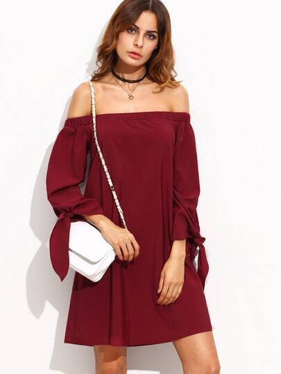 Burgundy Tie Cuff Off The Shoulder Shift Dress