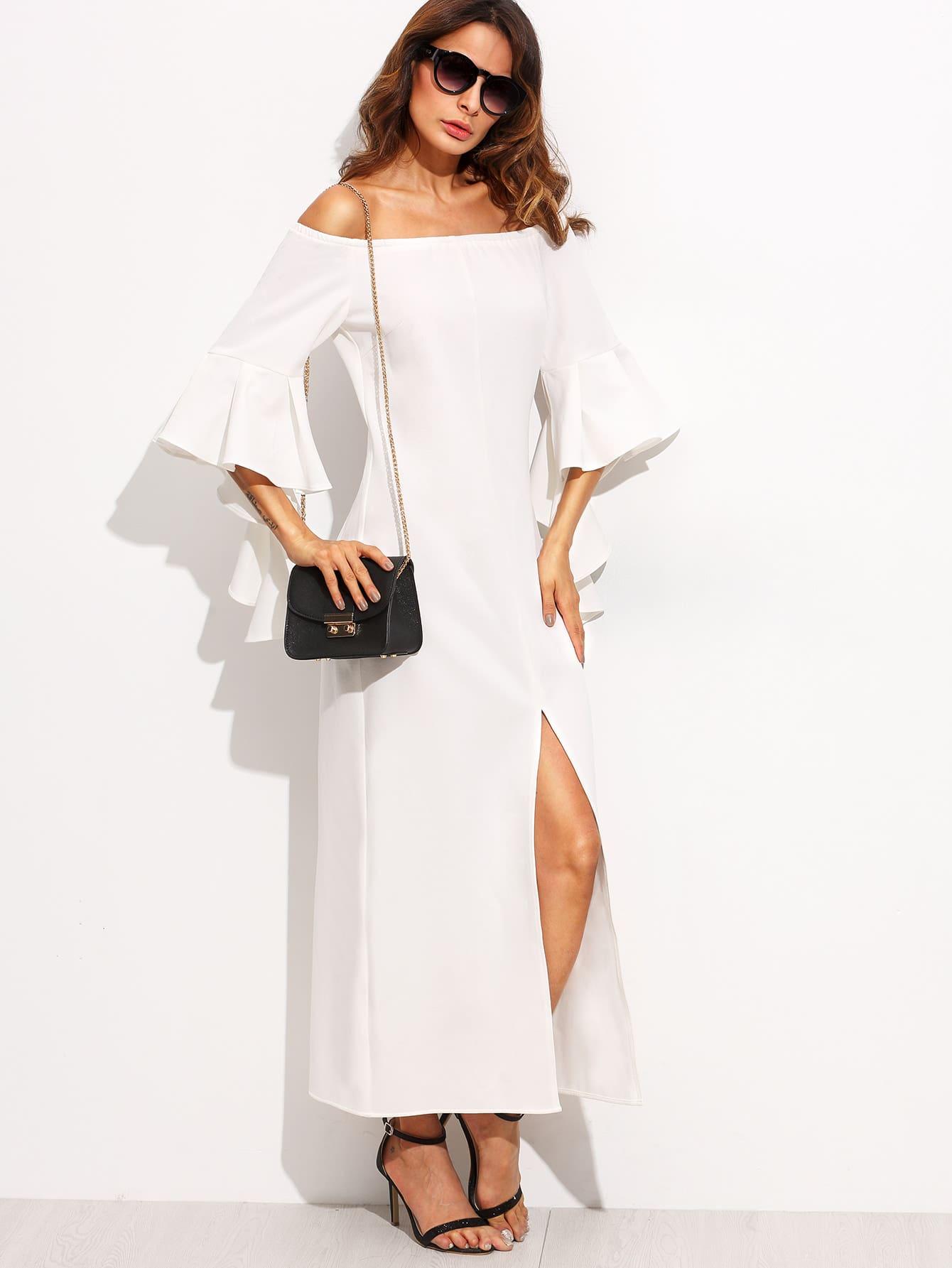 Фото Bardot Neckline Exaggerated Frill High Split Dress. Купить с доставкой