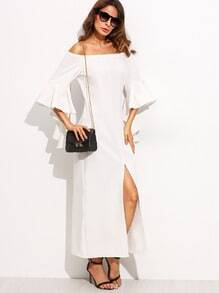 Beige Ruffle Sleeve Off The Shoulder Long Dress