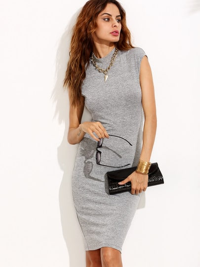 Marled Mock Neck Sheath Dress