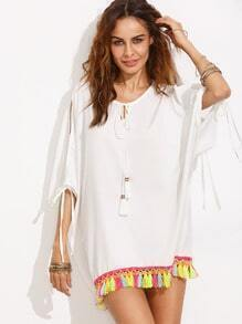 Beige Split Sleeve Tassel Hem Shift Dress