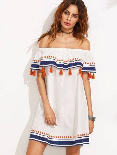 Multicolor Print Tassel Ruffle Off The Shoulder Shift Dress
