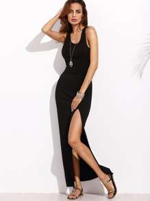 Racer Back Split Side Ribbed Dress