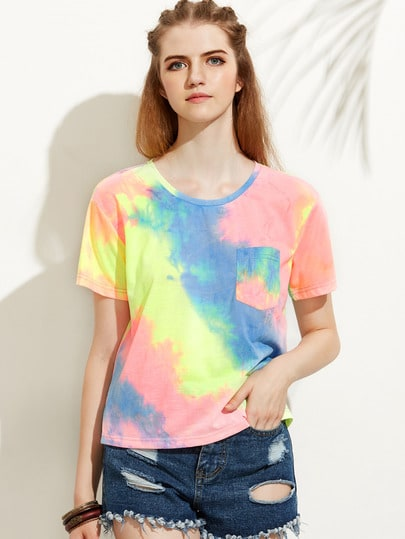 Rainbow Watercolor Chest Pocket Tee