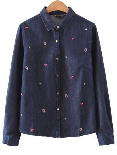 Navy Lapel Heart Embroidery Button Blouse