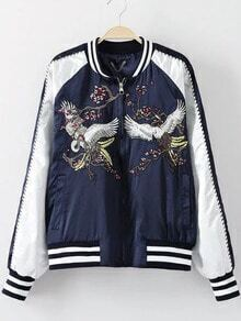 Navy Crew Neck Crane Embroidery Jacket