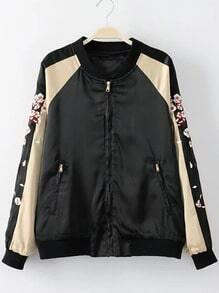 Black Sika Deer Embroidery Pocket Jacket