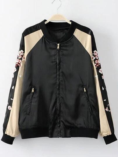 Black Sika Deer Embroidery Pocket Jacket