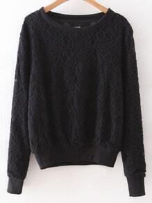 Black Rib-knit Cuff Lace Sweatshirt