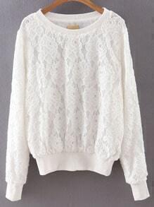 White Rib-knit Cuff Lace Sweatshirt