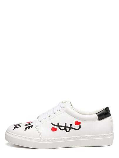 White Round Toe Print Sneakers
