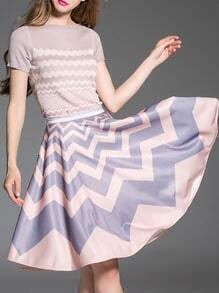 Pink Knit Top With Zigzag Print Skirt