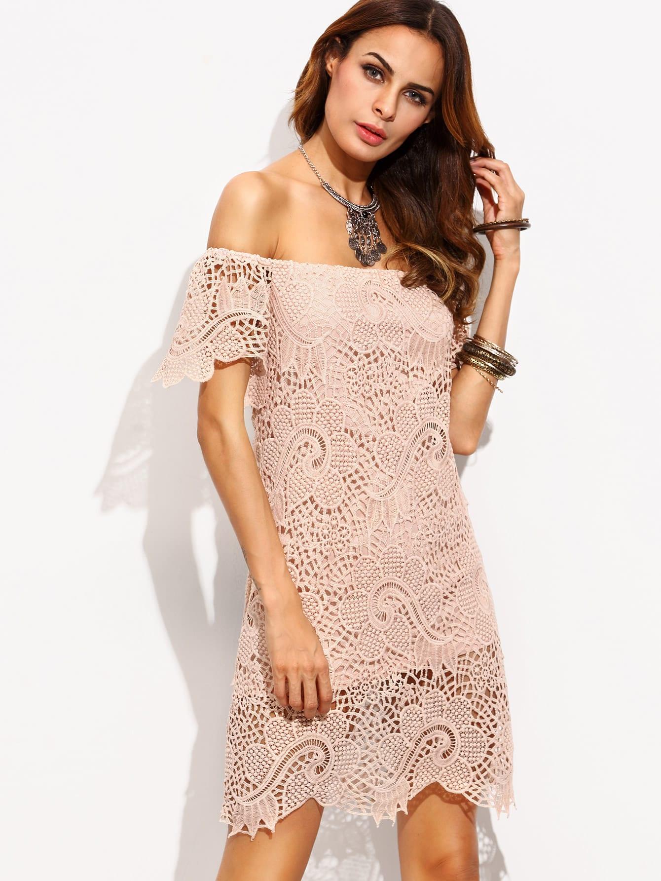 Light Pink Crochet Off The Shoulder Sheath DressLight Pink Crochet Off The Shoulder Sheath Dress<br><br>color: Pink<br>size: XS