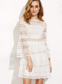 White Crochet Three Quarter Bell Sleeve Dress