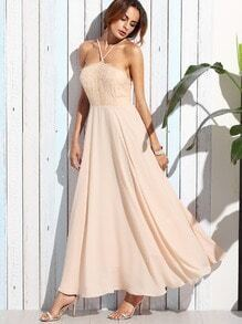 Light Pink Spaghetti Strap Lace Top Long Dress