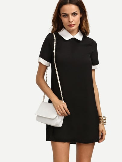 Black Peter Pan Collar Short Sleeve Shift Dress