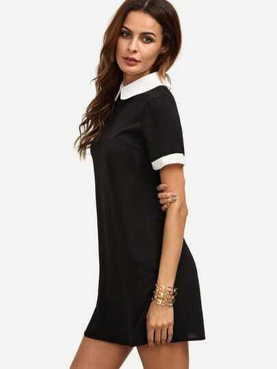 Robe noire col claudine noir