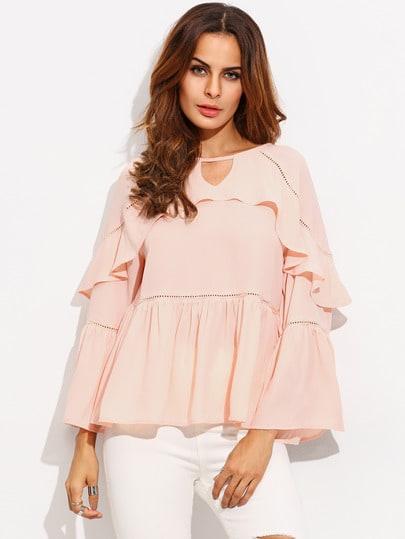Light Pink Cut Out Ruffle Hem Long Sleeve Blouse