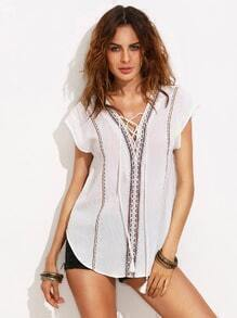 Beige Lace Up Front Cut Out Back Cap Sleeve Blouse