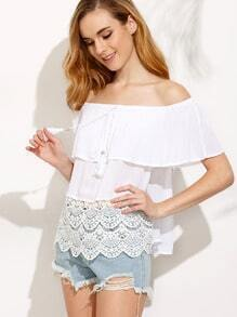 White Lace Hem Tassel Off The Shoulder Blouse