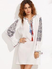 Multicolor Print Lace Up Front Long Sleeve Shift Dress