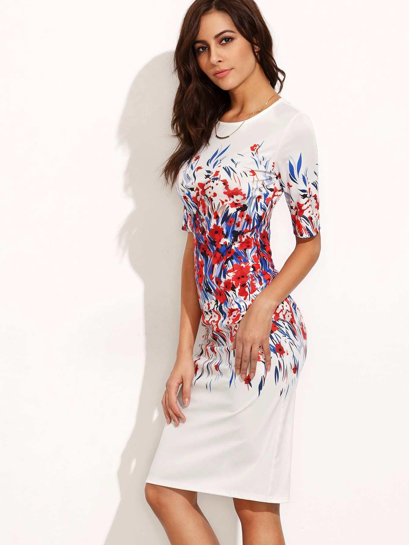 Фото Floral Print Split Back Fitted Dress. Купить с доставкой