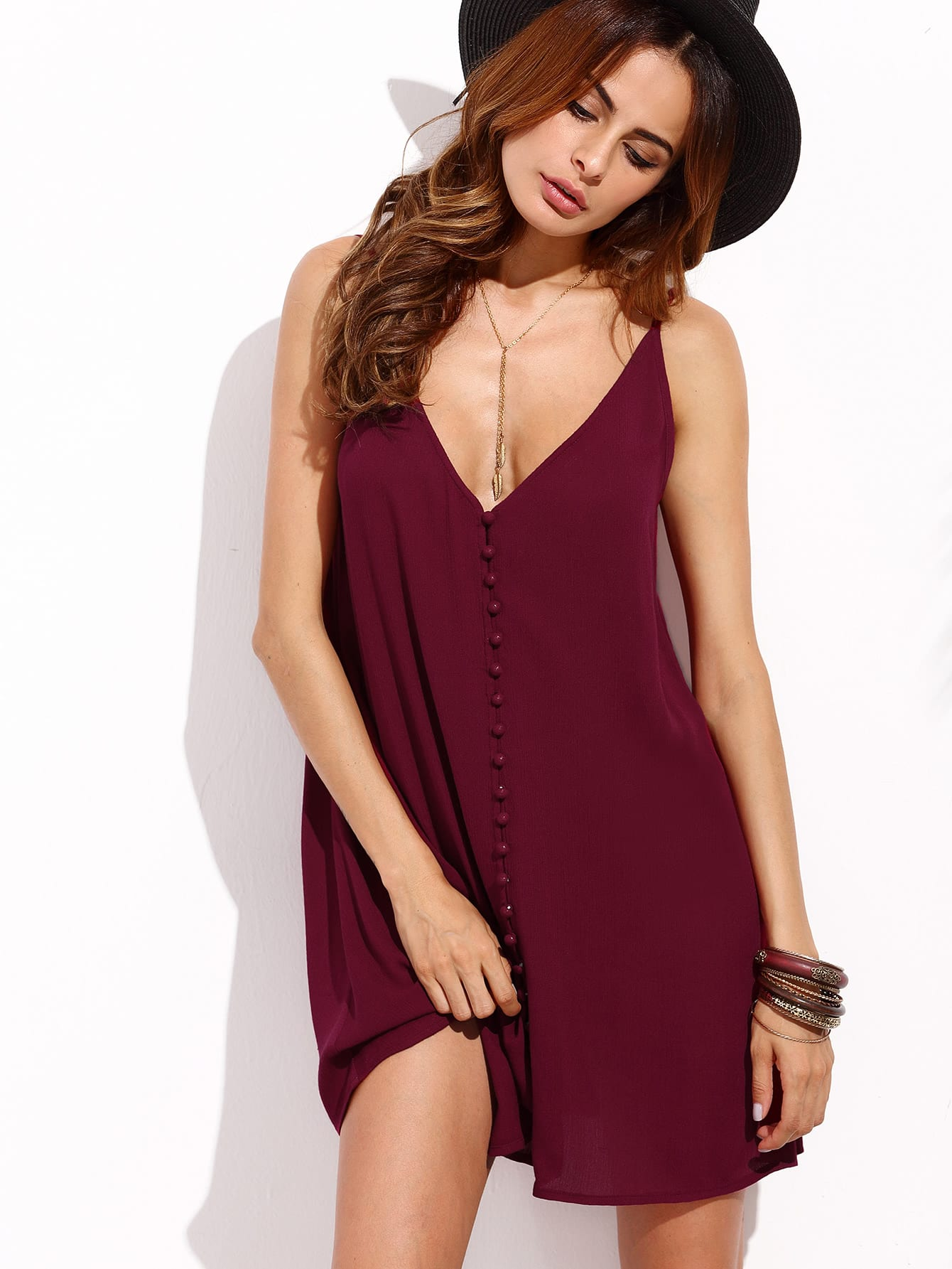 Button Front Plunge Neck Cami Dress