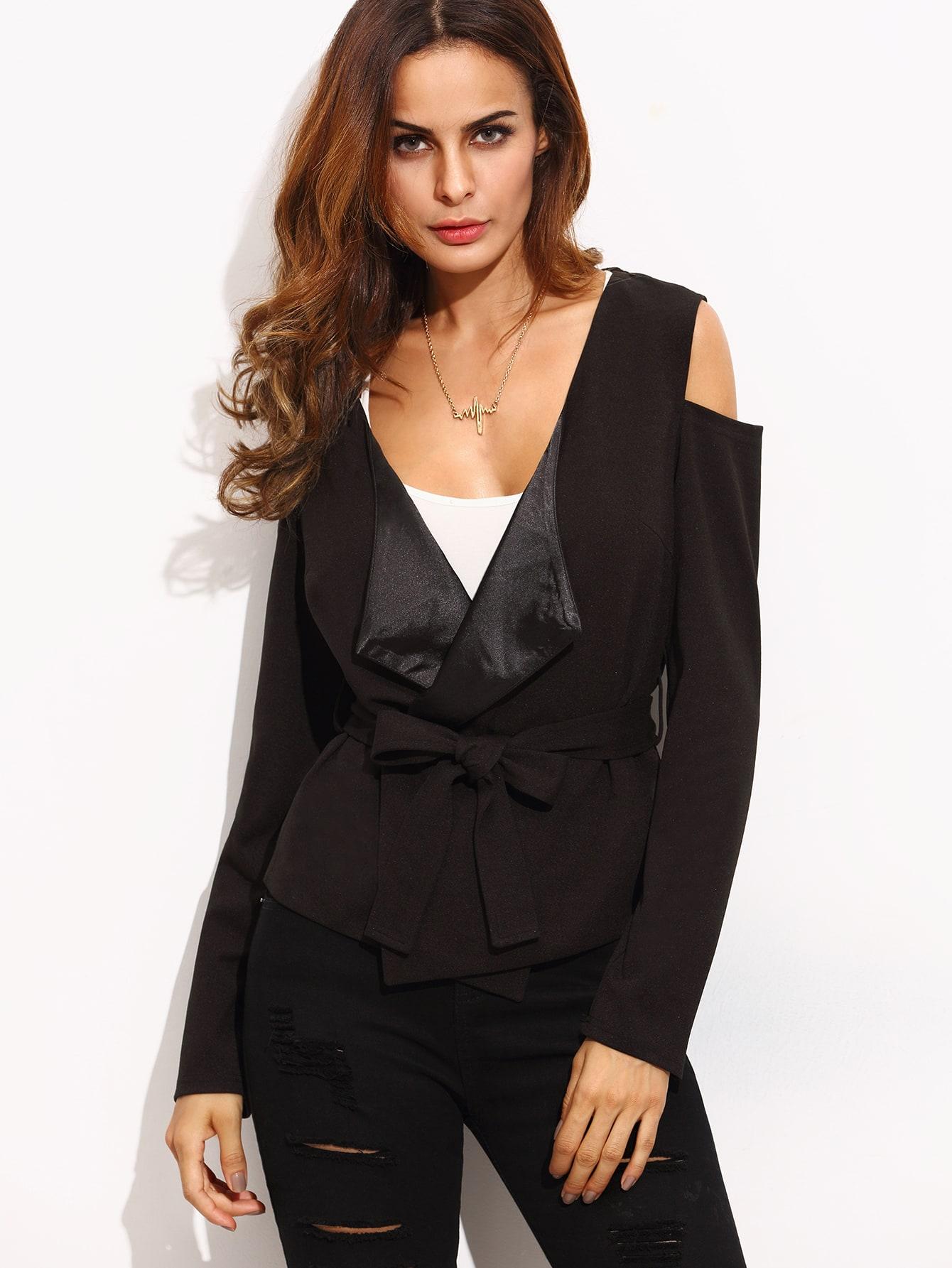 Black lapel tie waist cold shoulder short outerwear...