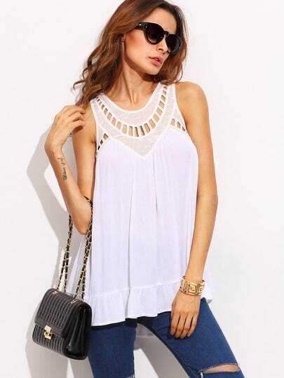 White Crochet Sleeveless High Low Tank Top
