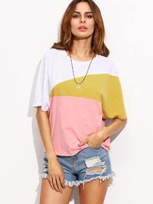 T-shirt color-block col rond manche courte