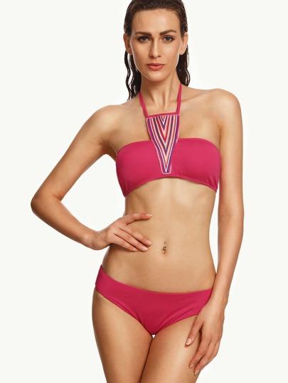 Rose-Carmine Stripe Strappy Neck Bikini Set
