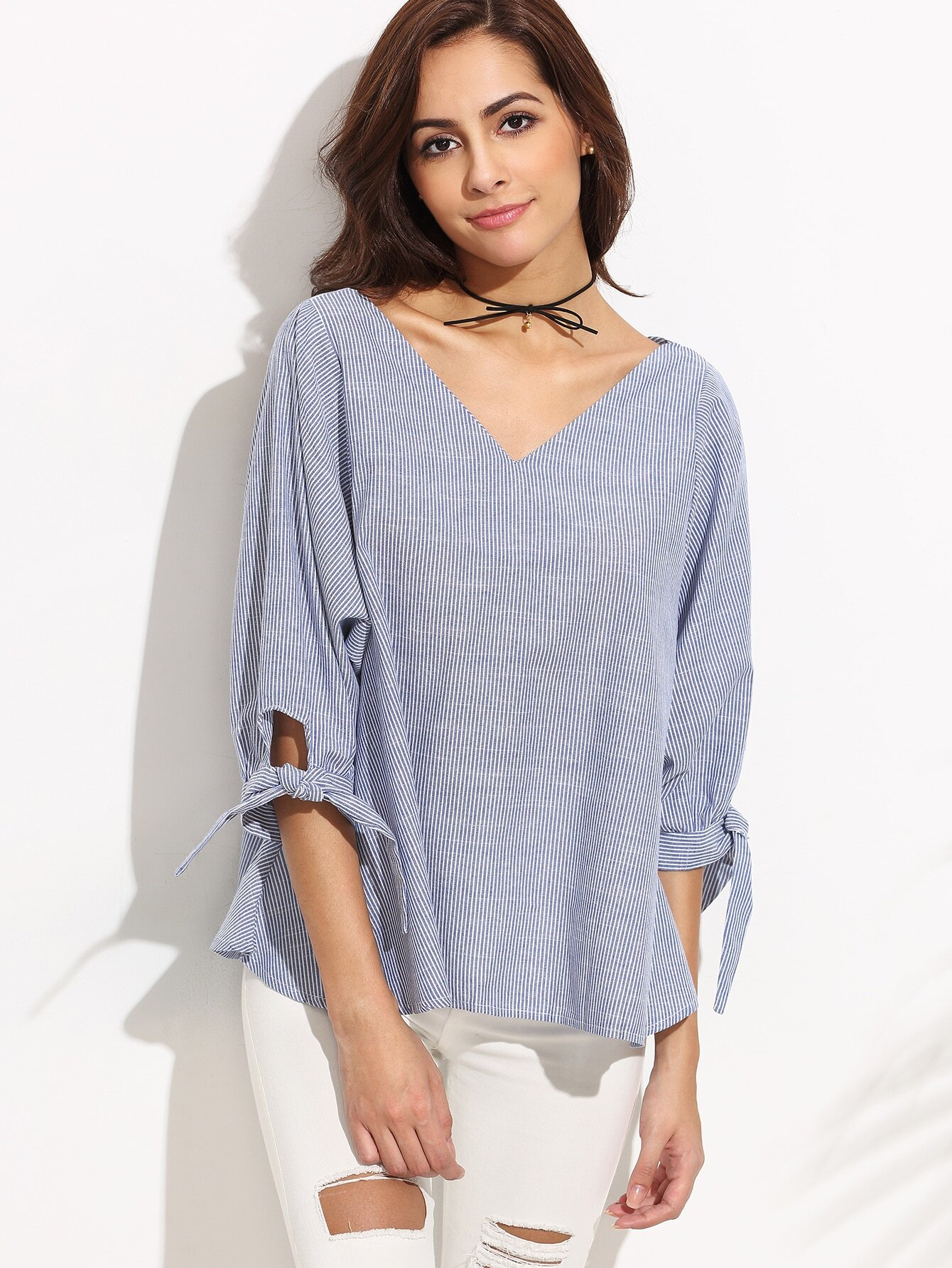 Blue Vertical Striped Tie Sleeve Blouse blouse160726104