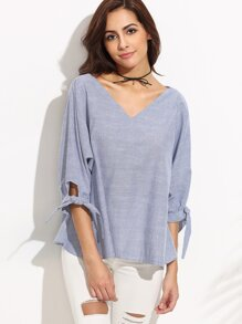 Blue Vertical Striped Tie Sleeve Blouse