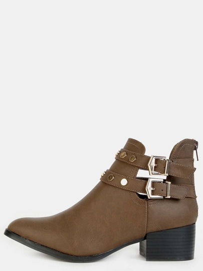 Chunky Buckle Studded Ankle Boots TAUPE