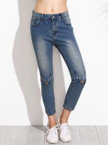 Blue Bleached Cat Embroidered Ankle Jeans