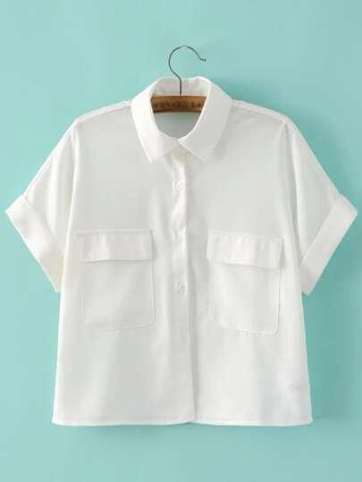 White Lapel Roll Up Pocket Blouse